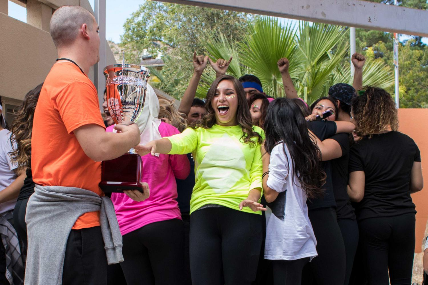 Members of UTEP's Alpha Xi Delta rejoice after they are announced as winners of the lip sync battle.
