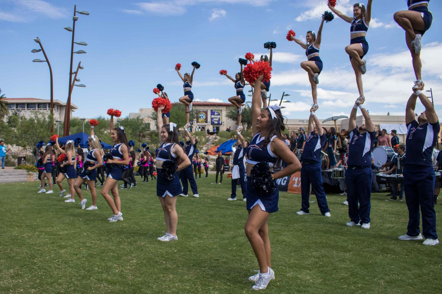 UTEP cheerleaders and Gold Digger preformed during the Homecoming Pep Rally at centennial plaza.