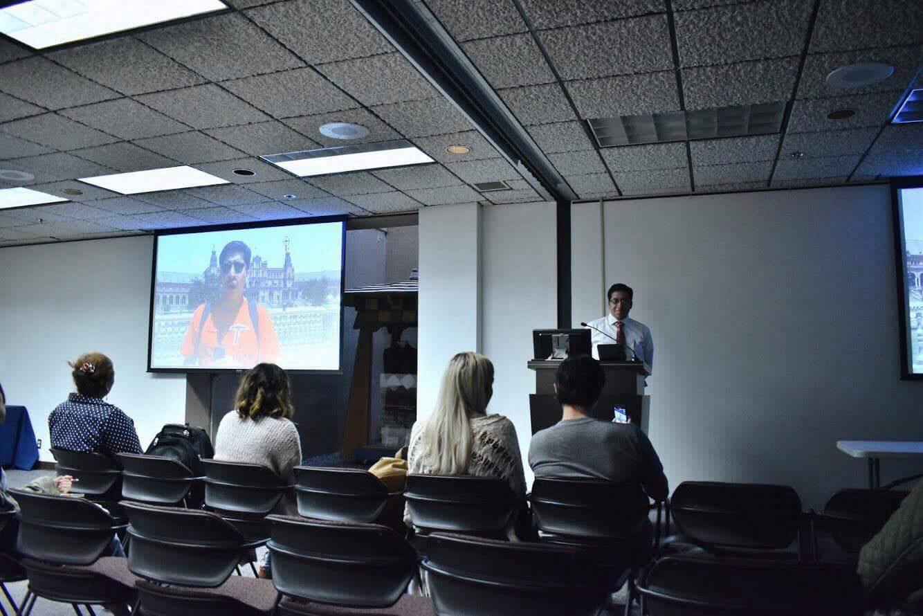Hector Enriquez, a Spanish professor at UTEP, and Guillermina Gina Nunez-Mchiri, a sociology and anthropology professor, gave students who they took to Seville, Spain the spotlight, to speak about their video projects and overall experience traveling abroad.