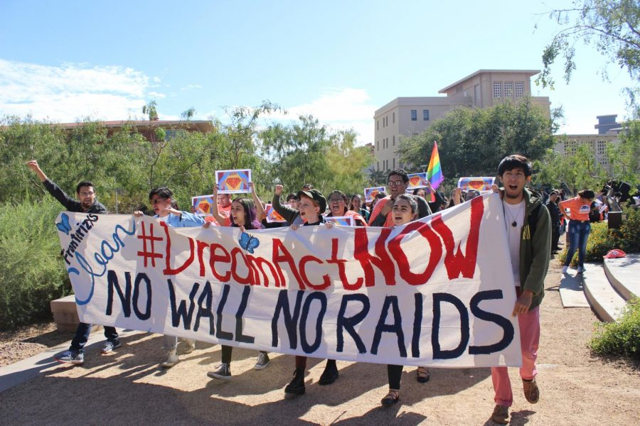After students and supporters gathered, they marched around Centennial Plaza.