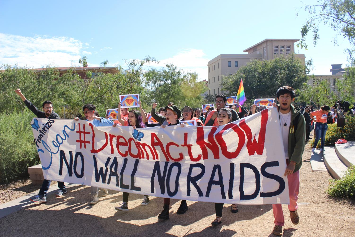 After+students+and+supporters+gathered%2C+they+marched+around+Centennial+Plaza.+