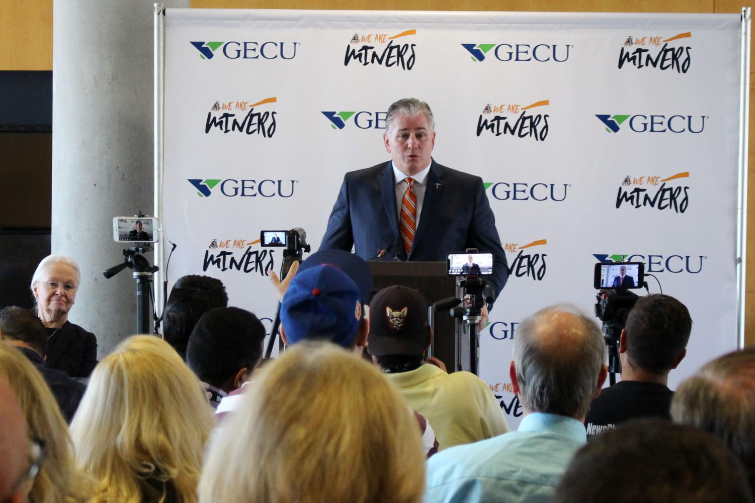 Jim Senter speaks to the media during his introductory press conference on Monday, Nov. 27 at the Larry K. Durham Center.