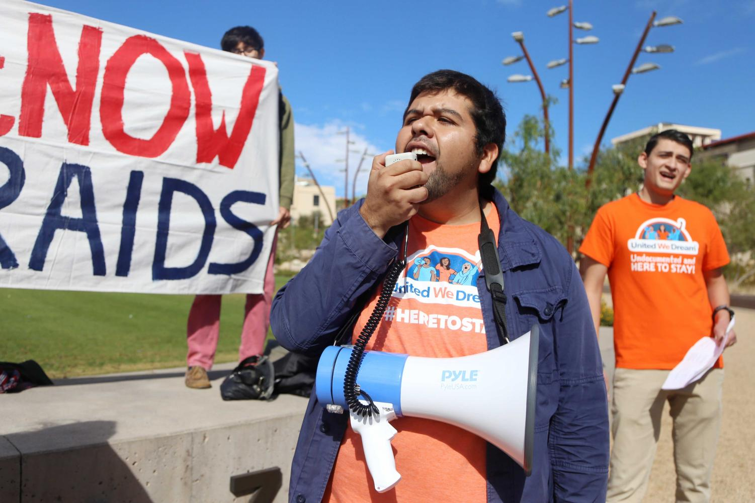Roberto+Valadez%2C+a+Dreamer%2C+lead+chants+and+introduced+many+of+the+speakers+at+the+protest.+