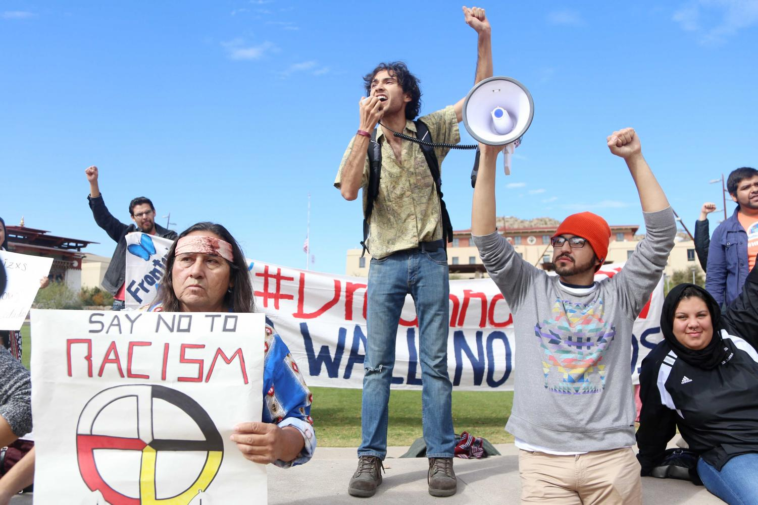 Andrew+Torres%2C+a+sophomore+majoring+in+anthropology%2C+volunteered+to+speak+at+the+protest.+