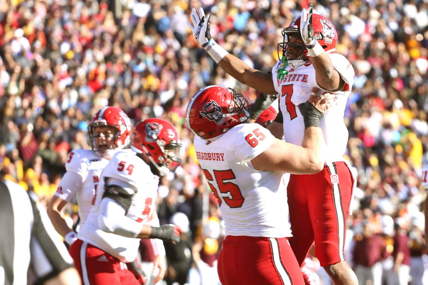 NC State running back Nyheim Hines scored three touchdowns as he led his team to victory.