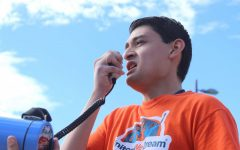 DACA recipient Noe Labardo, a senior physics major, speaks at a student walkout at Centennial Plaza on Nov. 9, 2017.