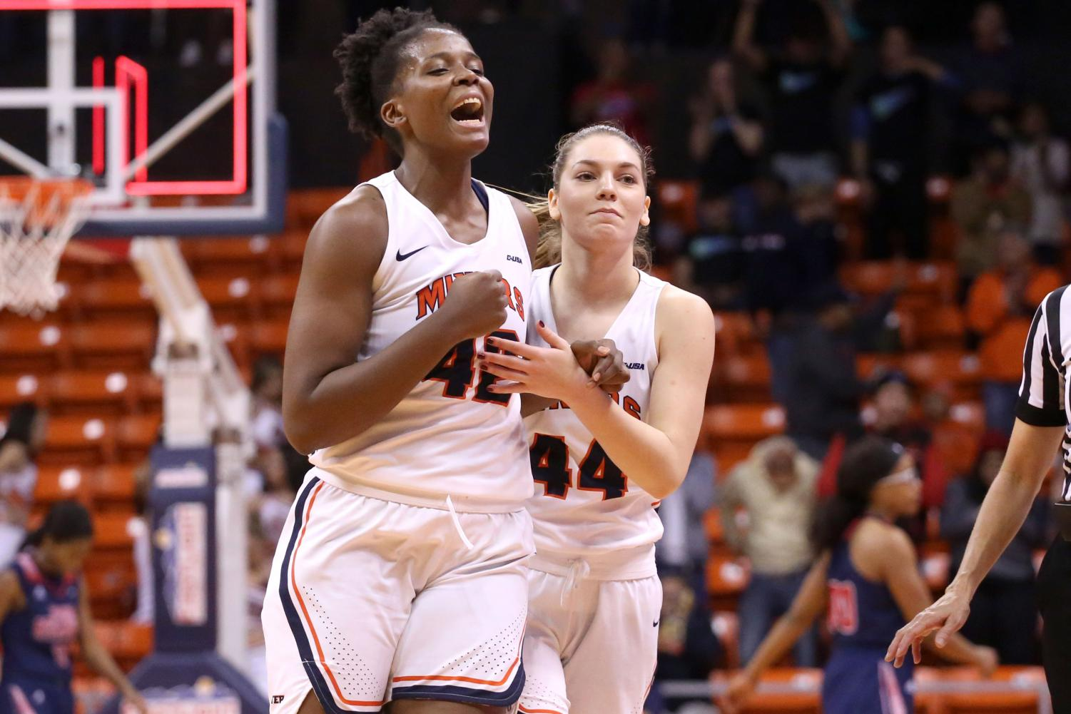 Senior forward Tamara Seda and sophomore guard Katarina Zec celebrate their win against the FAU Owls.