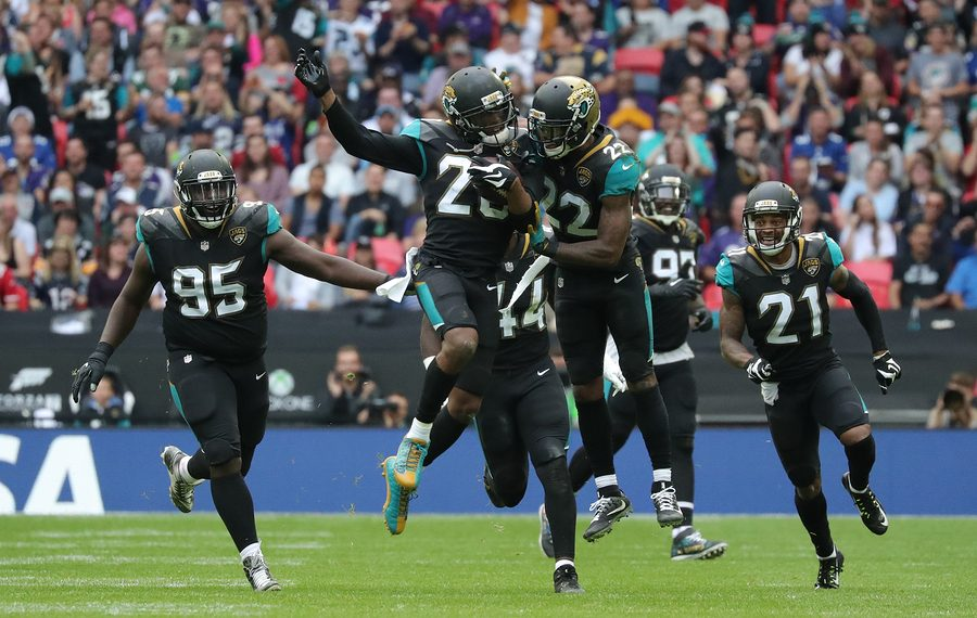 LONDON, ENGLAND - SEPTEMBER 24, 2017: Jalen Ramsey, defensive back for Jacksonville Jaguars celebrates catching an interception during the NFL match between The Jacksonville Jaguars and The Baltimore Ravens.
