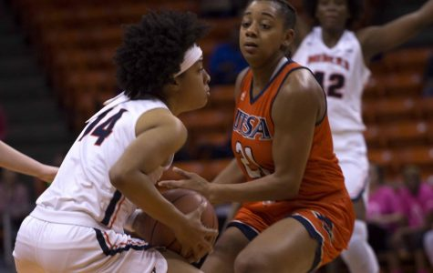 Najala Howell attempts to pass the ball to a teammate before a 58-55 loss to UTSA on Friday night at the Don Haskins Center.