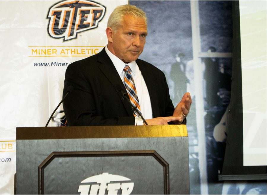 UTEP+head+football+coach+Dana+Dimel+addresses+the+media+and+attendees+of+UTEP%27s+2018+Signing+Day+Luncheon.