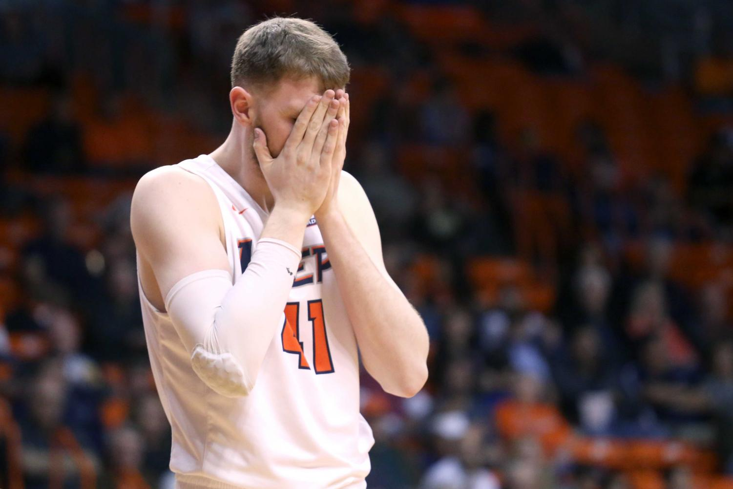 Matt Willms finished the game with a team-high 12 points in a 63-59 loss to visiting UTSA.