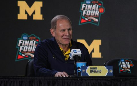 Michigan head coach John Beilein speaks to the media  during a press conference at the Final Four in San Antonio.