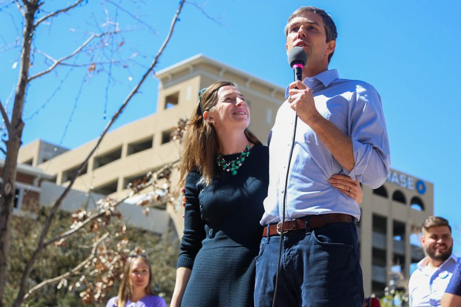 Beto O'Rourke talks about his dedication for representing El Paso alongside his wife, Amy Hoover Sanders, at San Jacinto Plaza on Saturday, March 10.