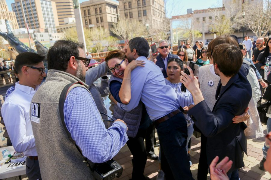 Beto O'Rourke, candidate for U.S. Senator representing Texas, hugs friends before walking on stage at his town hall at San Jacinto Plaza in downtown El Paso.