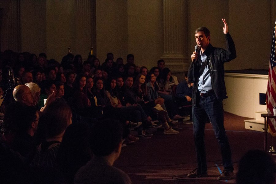 Beto O'Rourke, candidate for U.S. Senator representing Texas, speaks at El Paso High School, his alma mater, on Saturday, March 10.