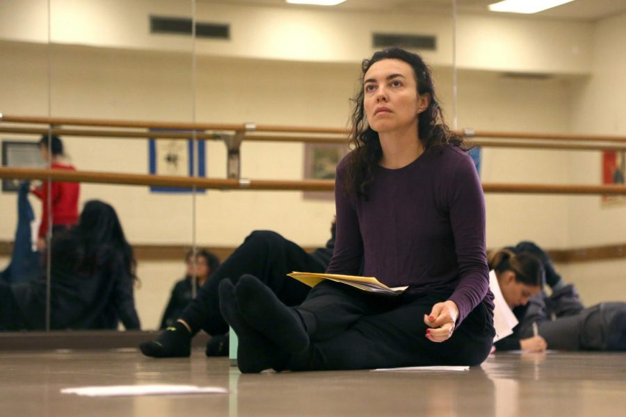 Cristina Goletti, a dancer and associate professor and chair of the theatre and dance department at UTEP, listens to her dance pedagogy students presentations.