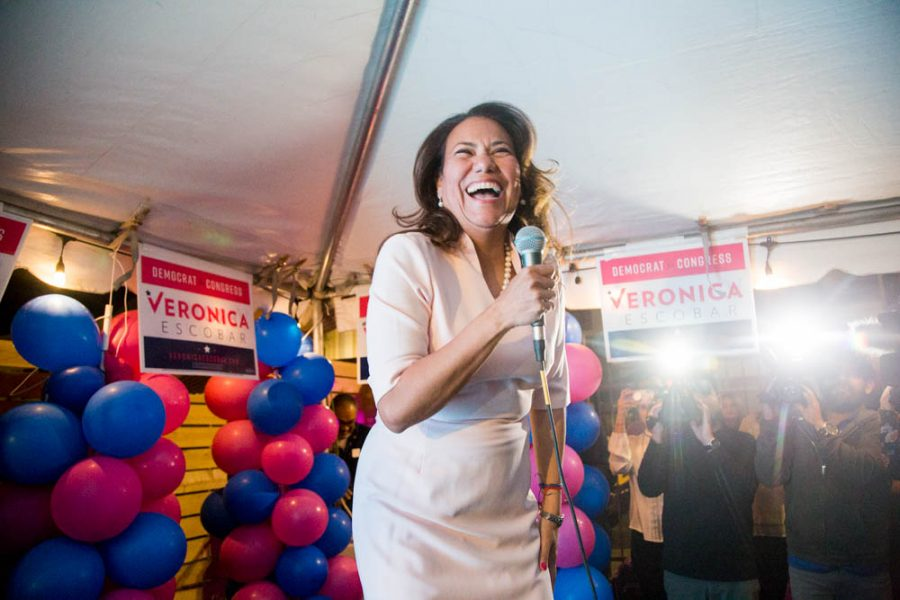 Veronica Escobar, Democratic candidate for District 16 in U.S. Congress, hugs her supporters as she arrives to her watch party at Park Tavern in downtown El Paso on Tuesday, March 6.