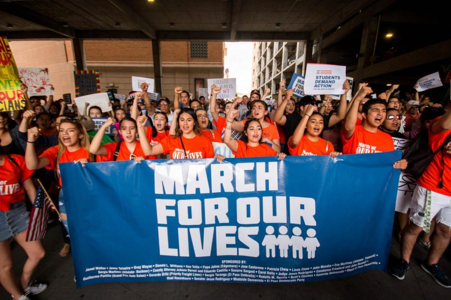 El Paso high school students march toward San Jacinto Plaza in downtown El Paso as they participate in the national March For Our Lives on Saturday, March 24.