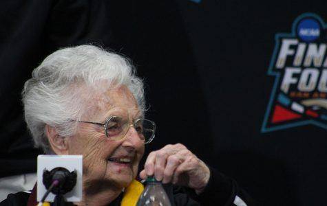 Sister Jean-Dolores Schmidt smiles during the Final Four weekend in San Antonio.
