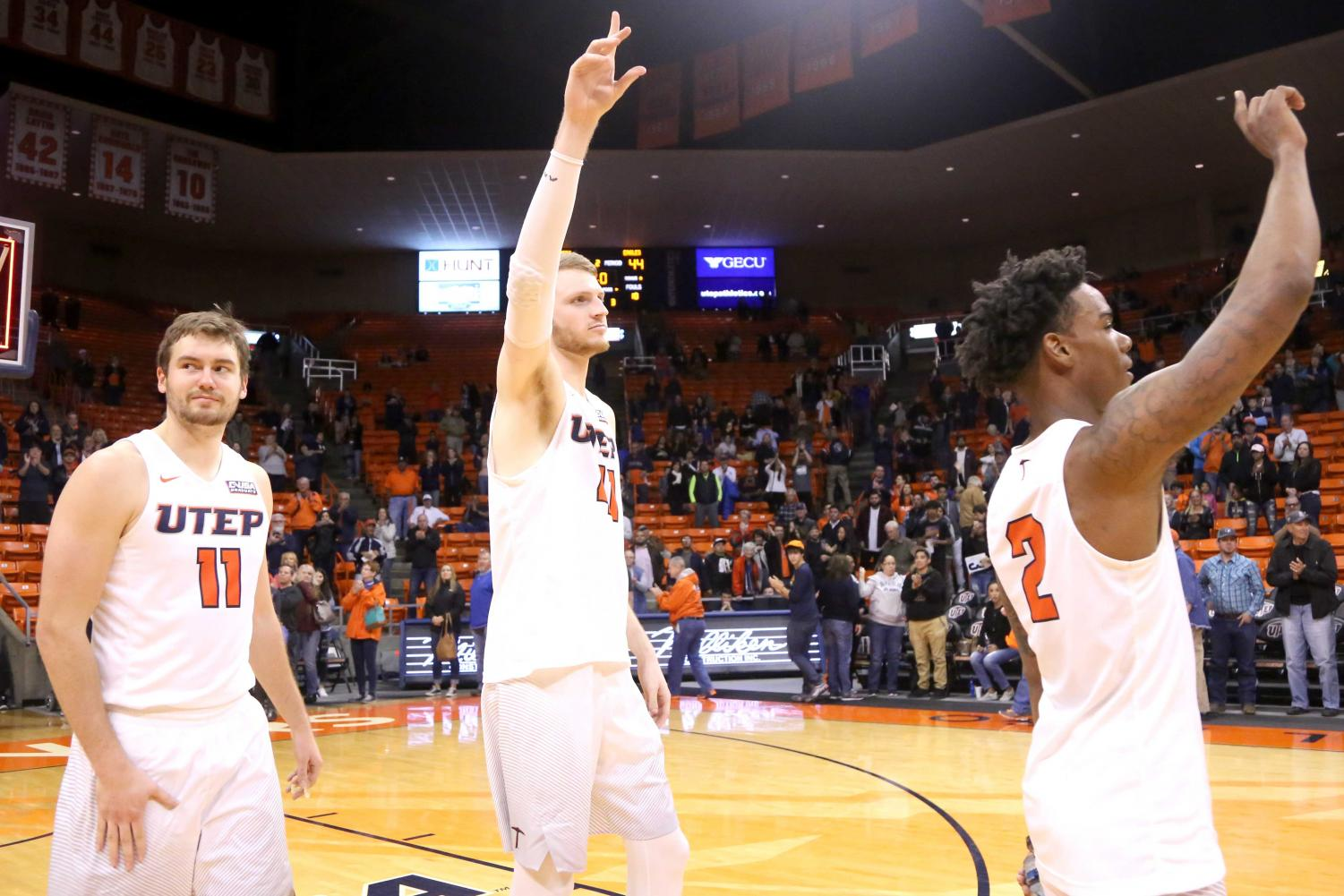 Jake Flaggert (left), Matt Willms (middle) and Omega Harris (right) won their last home game at the Don Haskins Center against Southern Mississippi, 73-44 on Feb. 24.