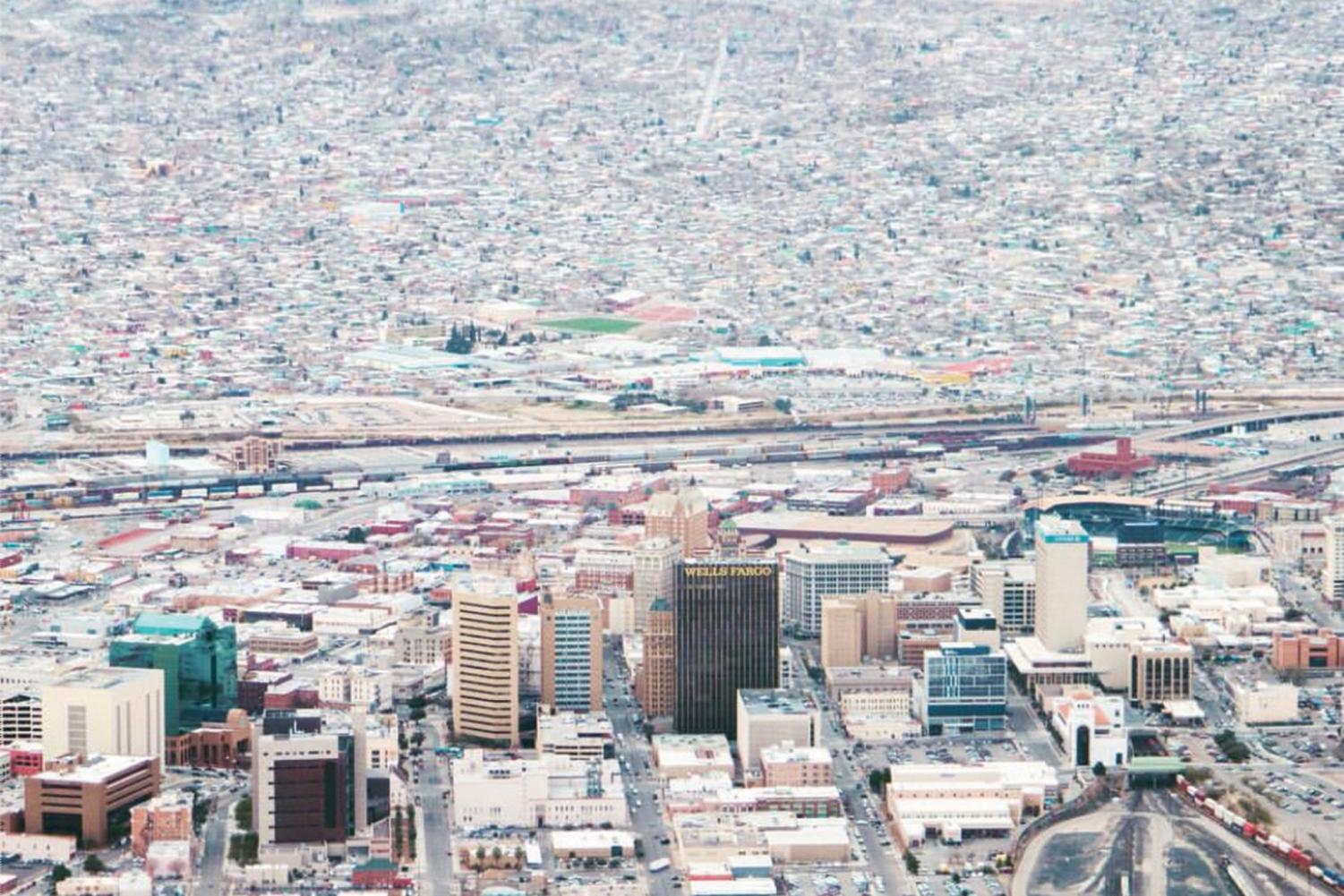 Downtown El Paso as seen from above.