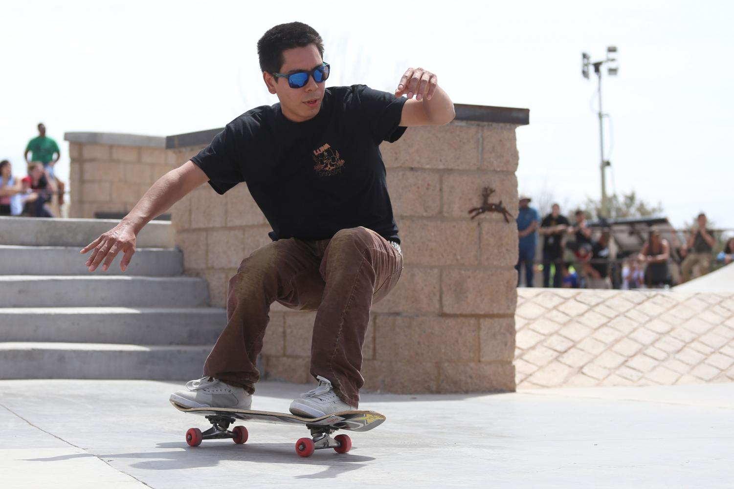 Skater+tries+to+keep+his+balance+on+his+board+after+doing+a+trick+at+the+Pakitu+Skate+Plaza+on+Saturday%2C+March+24.+