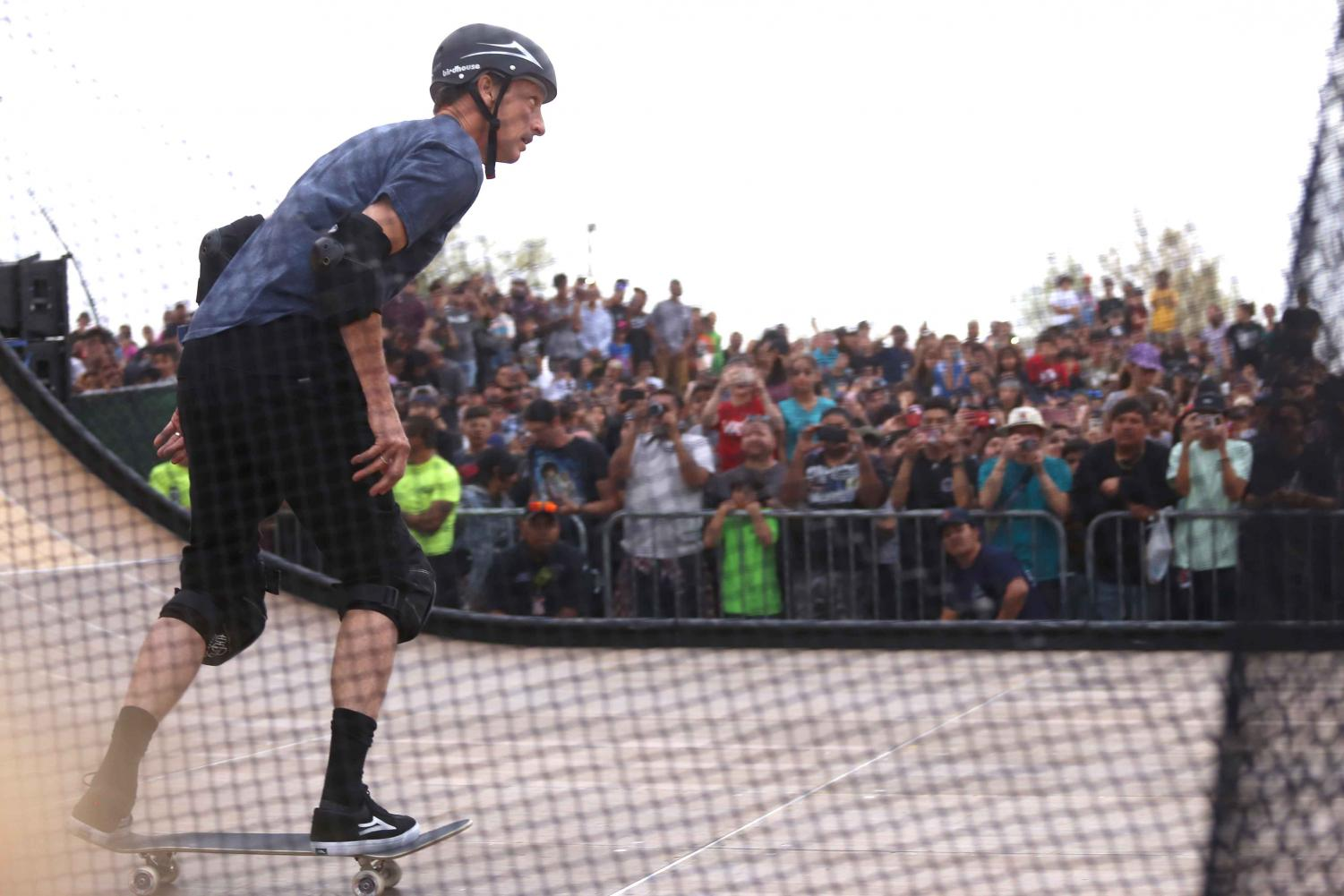 Tony Hawk skates in front of a big crowd at the Pakitu Skate Plaza on Saturday, March 24 in Socorro, TX.
