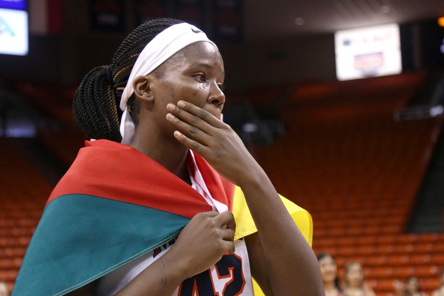 Senior+forward+Tamara+Seda+sheds+tears+while+being+honored+before+the+game+on+Saturday%2C+March+3+at+the+Don+Haskins+Center.