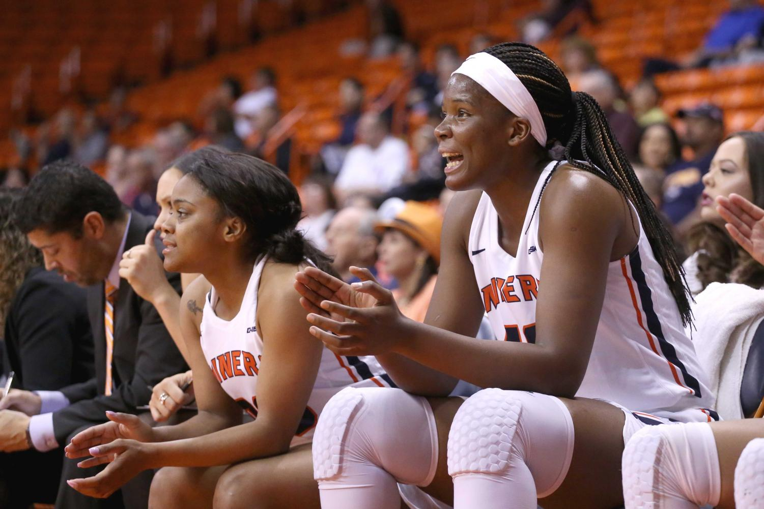 Senior+forward+Tamara+Seda+cheers+for+defense+from+the+side+line+on+Saturday%2C+March+3+at+the+Don+Haskins+Center.