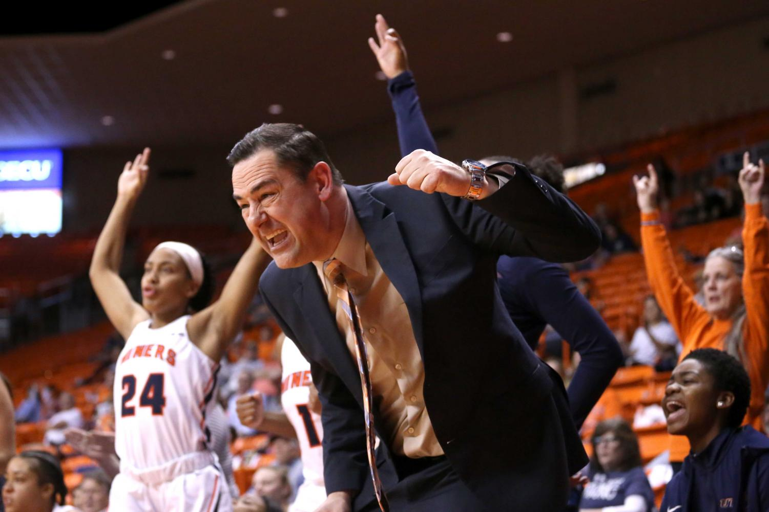 Head+coach+Kevin+Baker+celebrates+as+the+miners+score+three+on+Saturday%2C+March+3+at+the+Don+Haskins+Center.