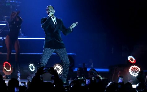 Maluma performs for a sold out crowd at the County Colliseum on Friday, April 20.