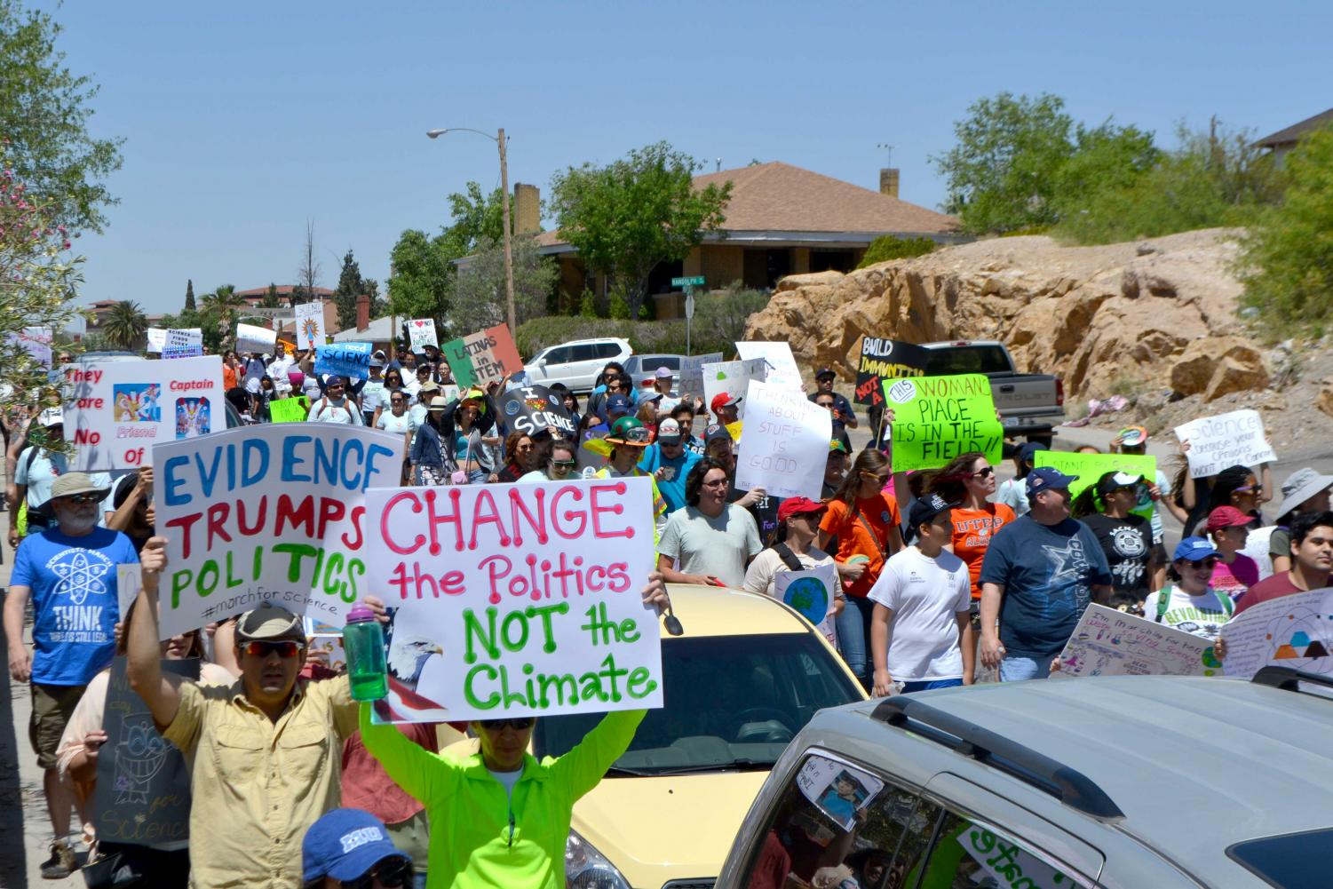 Activists marched from Mundy Park to San Jacinto Plaza on Earth Day, April 22, 2017, for the National March for Science.