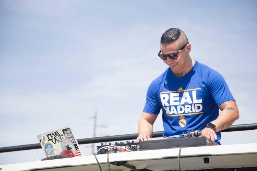 DJ Johnny Kage from 104.3 Hit FM performs at the first Miner Fest  on Wednesday, April 18 at Centennial Plaza.