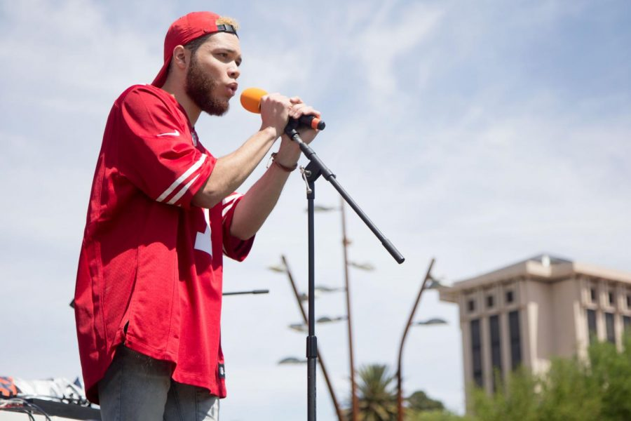 New to the scene artist Irie Lee performs at the first Miner Fest  on Wednesday, April 18 at Centennial Plaza.