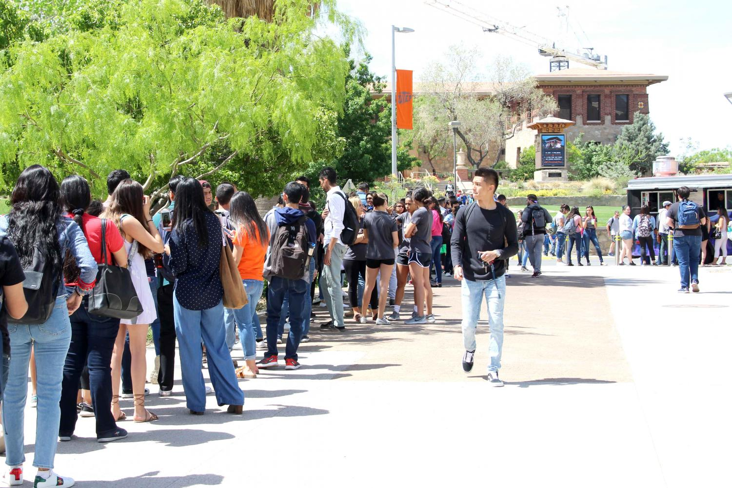 SGA offered free food to the first 250 students at the first Miner Fest on Wednesday, April 18 at Centennial Plaza.
