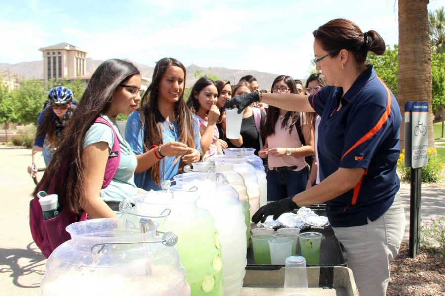 SGA offered free aguas frescas to the first 250 students at the first Miner Fest on Wednesday, April 18 at Centennial Plaza.