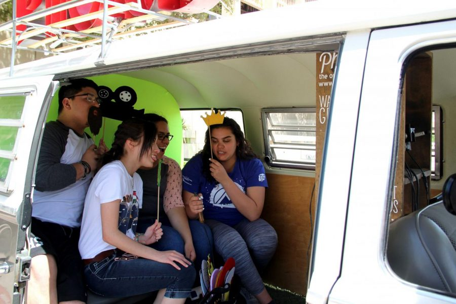 Students had the opportunity to take photos the Photo Bus booth at the first Miner Fest on Wednesday, April 18 at Centennial Plaza.