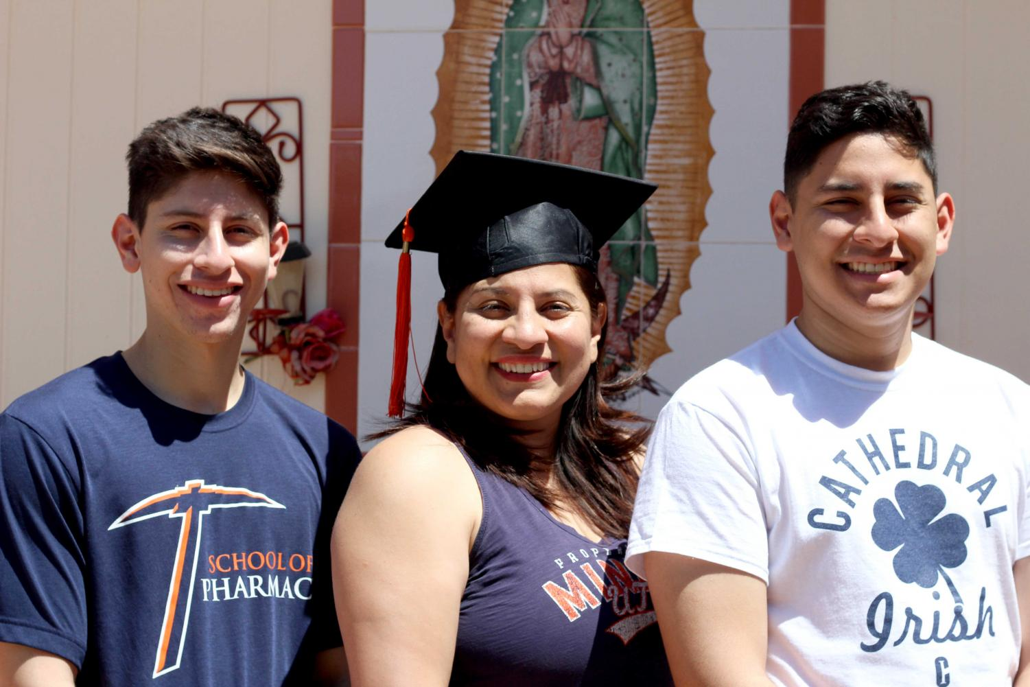 Jaclyn Nava and her sons Albert Nava Jr.,left, and Samuel Nava, right, have been going to school together at UTEP.