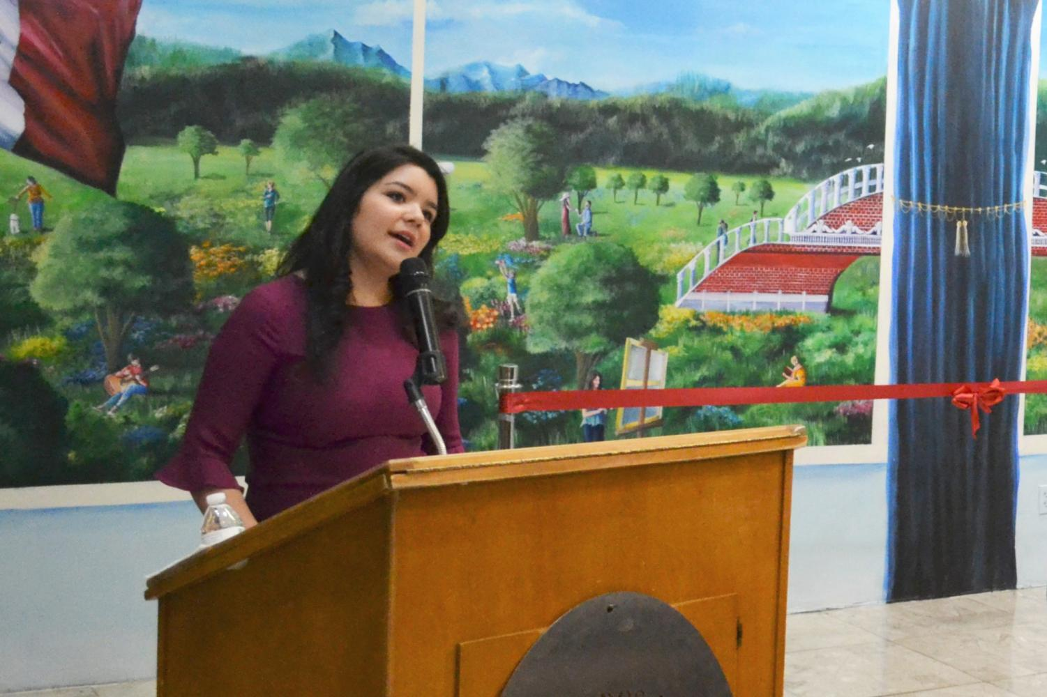 "Paloma Vianey Martinez during the inauguration of her mural ""A Bridge Uniting Two Countries"" last year at the  Consulate General of Mexico in El Paso."