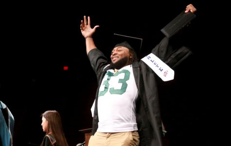 Green Bay Packers running back, Aaron Jones during his graduation Ceremony at UTEP's Don Haskins Center on Saturday May 12.