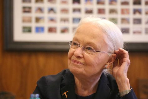 President Natalicio addresses the media in accordance with the news of her retirement on Tuesday, May 22 at the President