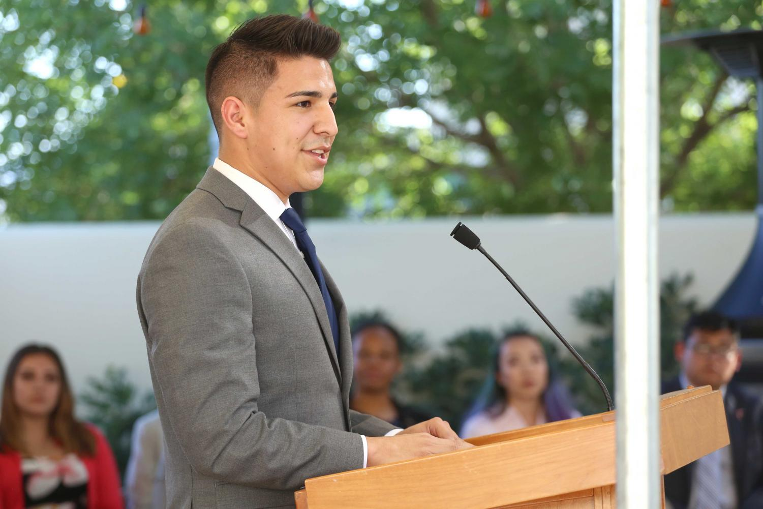 Junior+psychology+major+Cristian+Botello++gives+a+speech+after+being+sworn+in+as+SGA+President+at+the+Hoover+House+on+May+23.