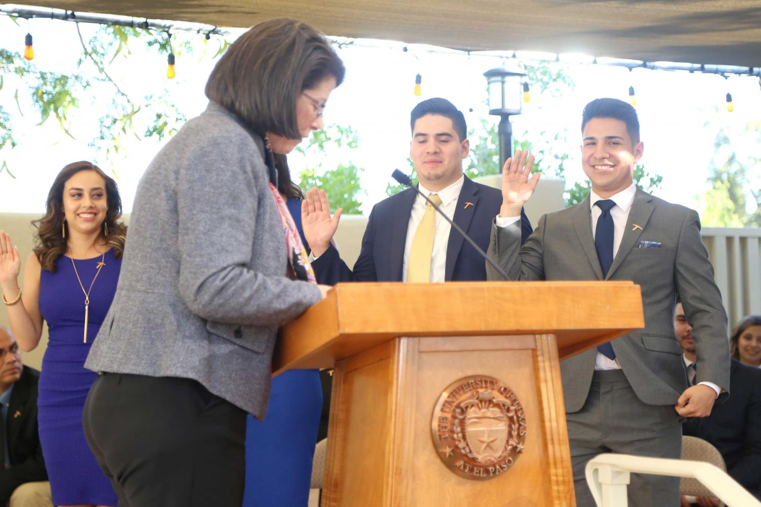SGA President Cristian Botello, Vice President of Internal Affairs Carlos Chavira, Vice President of External Affairs Jaqueline Benavides and Executive Assistant to the President Jessica Martinez were sworn in to office on Wednesday, May 23 at the Hoover House.