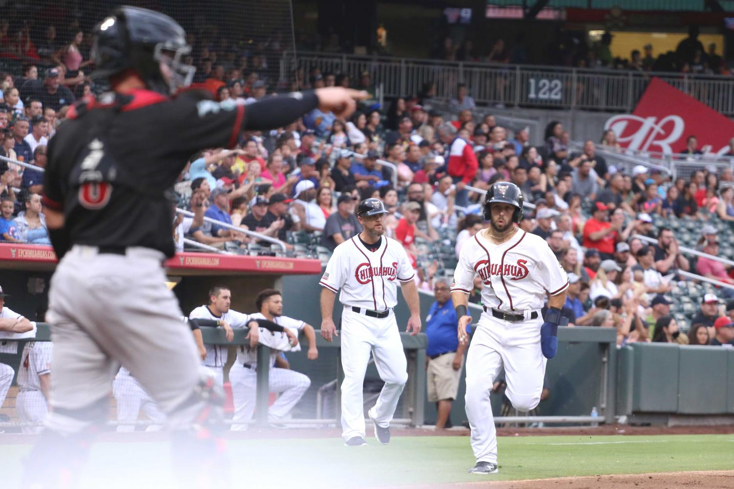 Left fielder Forrestt Allday runs to home base and scores at the last game of the series on Friday, June 15 at the Southwest University Park.