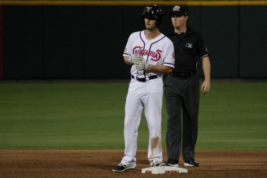 Center fielder Auston Bousfield in the second base Tuesday June 19 at Southwest University Park.
