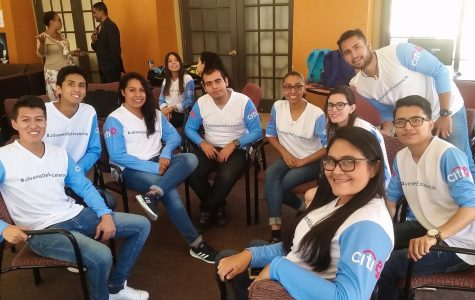 A group of students from UTEP's Engligh Language Institute program hang out at Miner Village on Monday, June 25.