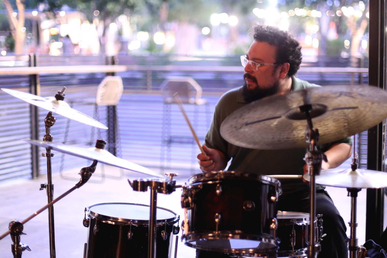 Eddie+Provencio+plays+the+drums+for+The+Eddie+Provencio+Jazz+Band.