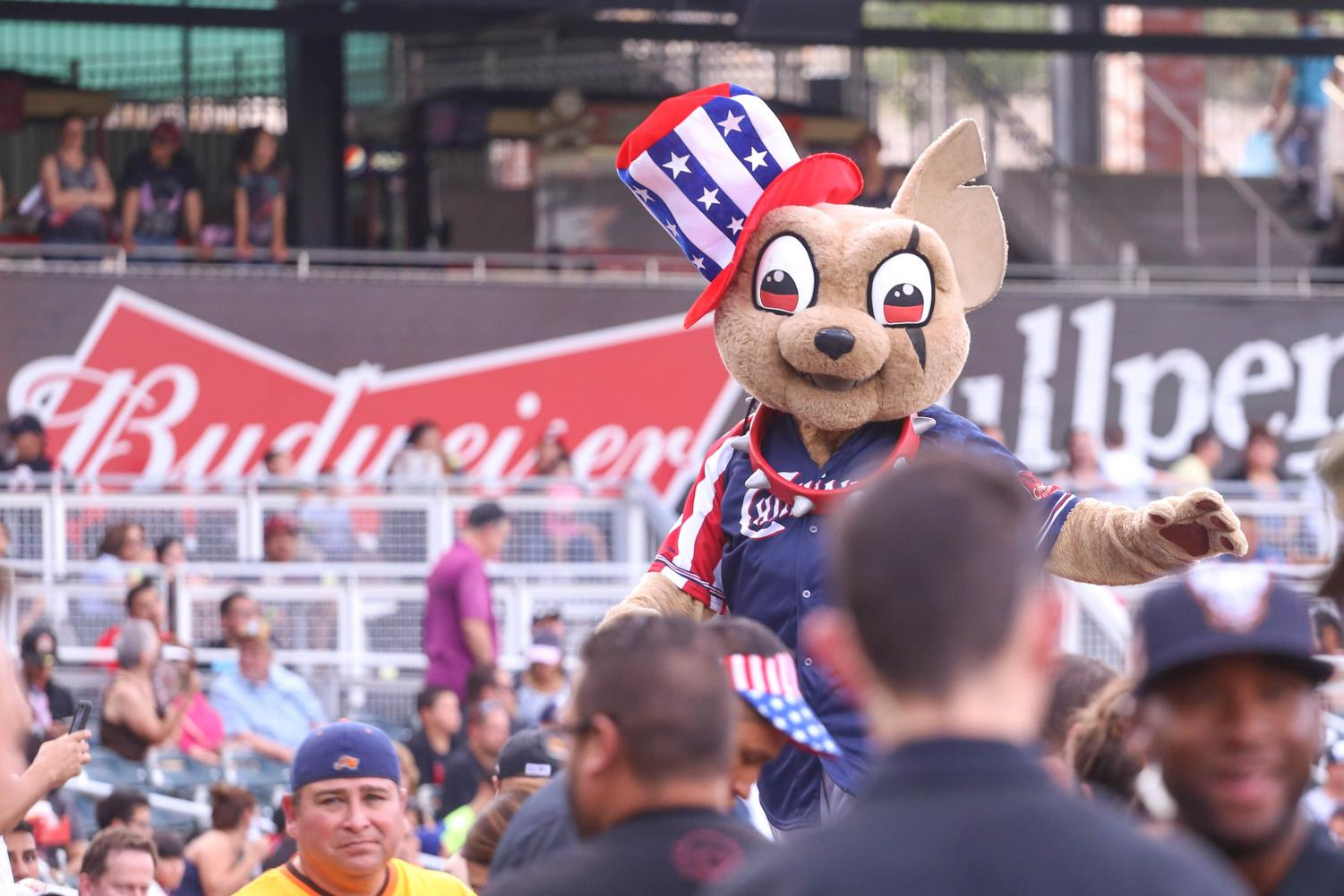 Chico greets the fans before the series finally in his 4th of July attire.