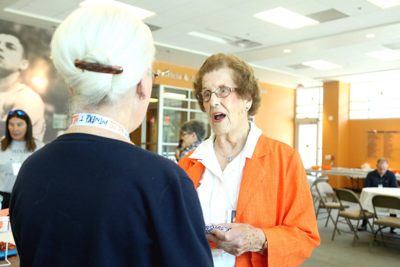President+Diana+Natalicio+talks+to+Katie+Jensen+at+her+retirement+luncheon.+
