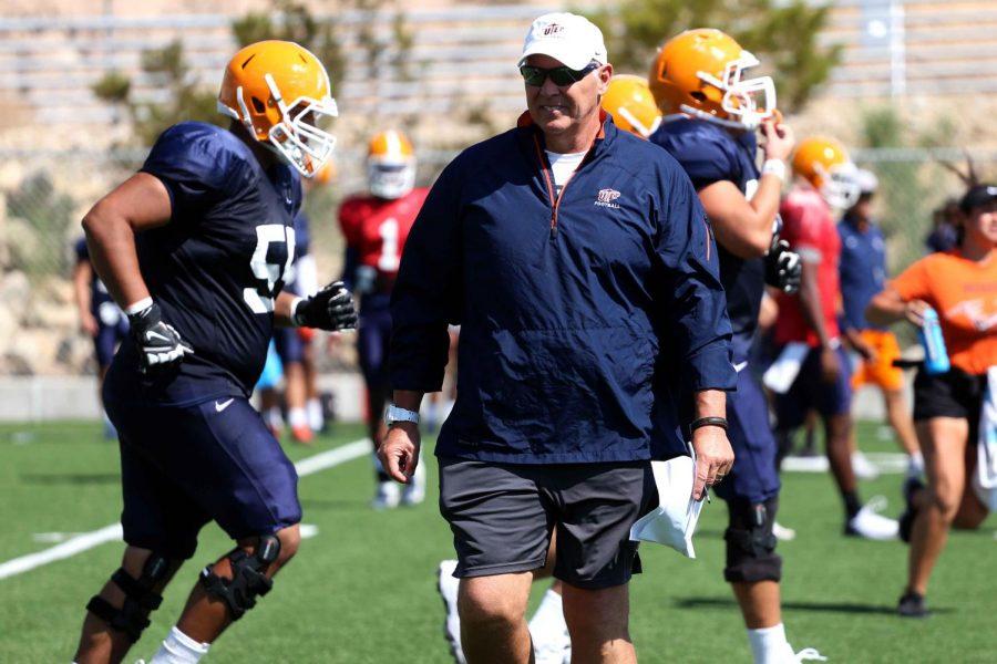New head football coach Dana Dimel prepares his team for the season opener on Saturday Sept. 2 against Northern Arizona at the Sun Bowl